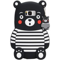 3D black and white Stripe Kumamon combination of soft silicone skin Samsung Galaxy S8 plus cover - Case for Samsung