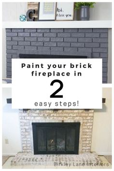 Paint Your Brick Fireplace in 2 Easy Steps! is part of diy-home-decor - Hate your ugly brick fireplace Give it a quick and easy makeover, DIY style! Use my twostep hack to paint your brick fireplace and LOVE how it looks! Painted Brick Fireplaces, Grey Fireplace, Paint Fireplace, Brick Fireplace Makeover, Home Fireplace, Brick Fireplace Remodel, Fireplace Update, Stone Fireplaces, Farmhouse Fireplace