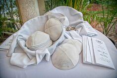 Ivory kippot and #wedding programs. Miami Elegant Modern Jewish Wedding   Modern Jewish Wedding Blog