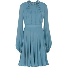 ELIE SAAB Beaded Neckline Shirt Dress (36.190 HRK) ❤ liked on Polyvore featuring dresses, elie saab, short dresses, blue, vestidos, short blue cocktail dresses, short beaded dress, beaded mini dress et short blue dresses