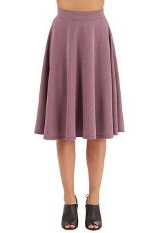 Bugle Joy Skirt in Wisteria. You hear your friends truck horn outside your window - your trumpet call to scoot this A-line skirt out the door and hop in! #purple #modcloth