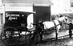 A boldly painted cart collects dirty laundry for cleaning at a Salvation Army 'rescue home', probably in the late 19th century. Rescue homes were forerunners of the later night shelters. They provided not only accommodation and food for the homeless, but also basic employment, in this case work in the Army's own laundry.