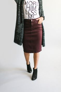 'Leah' Denim Skirt in Wine - The Main Street Exchange - - Effortlessly timeless, the simple lines of the 'Leah' skirt will add a touch of class to any cool weather outfit. Church Outfits, Fall Outfits, Casual Outfits, Cute Outfits, Modest Winter Outfits, Church Outfit Winter, Amazing Outfits, Casual Skirts, Summer Outfits