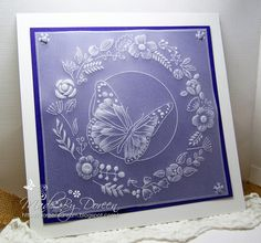 Hello to you all Well here I am as promised with some more Parchment craft.I have used A clarity Groovi plate for this. I loved. Parchment Design, Parchment Cards, Paper Quilling Designs, Butterfly Template, Hand Stamped Cards, Card Patterns, Paper Cards, Machine Embroidery Designs, Card Making