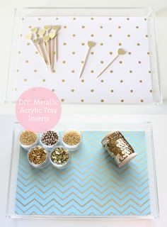 DIY: Metallic Printable Acrylic Tray Inserts by ForChicSake.com