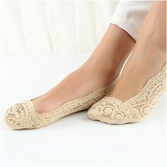 e996f60adbd4d Wander Ago Womens Lace Nonslip Sock No Show Liner LowCut Socks 4 Pairs  Beige **