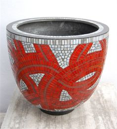 red and gray vase