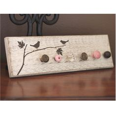 Jewelry Rack - Thick Shabby Chic Style - Birds on Branch - Your choice knobs-colors. $42.00, via Etsy.