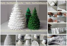 Christmas tree decoration from crepe paper DIY Gingerbread Christmas Tree, Cone Christmas Trees, Handmade Christmas Tree, Christmas Crafts, Christmas Ideas, Cone Trees, Master Class, Origami Ornaments, Crochet Tree