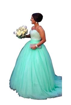 Elley Women's Sweetheart Empire 2016 Strapless Floor Length Backless Puffy Ball Gown Long Tulle Quinceanera Dress Mint US16. Lace-up,Build in Bra;Handmade Dress. Ball Gown Sweep Train Quinceanera Dress. Strapless,Sweetheart,Beaded,Size and Color Custom Made Available. When getting your order,we will email you to check the measurements.If no reply,we will process it as our size.Hope you can reply us asap.Thanks!. Wash Hand/Dry Clean;Drying,Ironing,Storing.