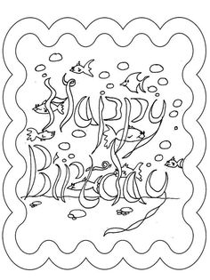 Happy Birthday Cards Coloring Page