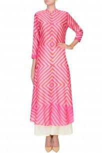 Pink Shibori Effect Asymmetric Kurta With Palazzo Pants #pink #Shiborieffect…