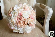 Romantic bridal bouquet of roses and hydrangea with pearl detail