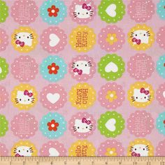 Sanrio Hello Kitty Hearts and Flowers Toss Pink $6.38/y Manufacturer Springs Creative Products Collection Sanrio Hello Kitty Hearts and