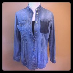 Pierre Balmain top Distressed, chic denim top with high collar and fitted waist. Button down with gold colored buttons. Made in Italy. Fits 2-4. Pierre Balmain Tops Button Down Shirts