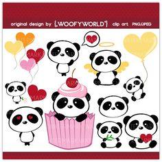 WA76 Panda Love- Personal and Commercial Use digital clip art - panda,animal,love,balloon,cute,black,white,cupcake. $4.49, via Etsy.