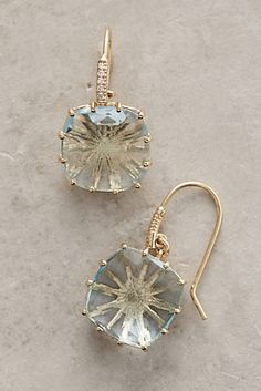 14k Gold Topaz Hook Earrings
