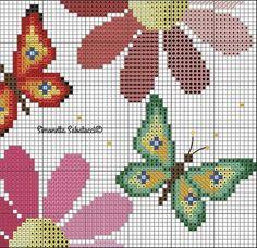 Butterfly Cross Stitch, Cross Stitch Borders, Simple Cross Stitch, Cross Stitch Animals, Cross Stitch Charts, Cross Stitch Embroidery, Cross Stitch Patterns, Knitting Patterns, Pearl Crafts