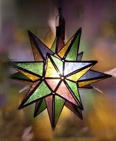Description: Gorgeus moroccan hanging stain glass star. lamp made in Marrakesh. Great for outdoor & indoor, amazing light will give a special touch to your place. These stain glass star lamps are all handmade in Marrakesh, Morocco. Hang these stars and give a charming look to your interior.This beautiful star lamp has a door to access inside, comes with the light fixtures(bulb not included). Size : 11