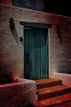 Southwest garden door in Mesilla, New Mexico. .....rh