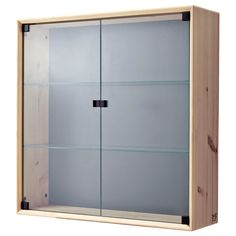 IKEA - NORNÄS, Glass-door wall cabinet, , Untreated solid pine is a durable natural material that can be painted, oiled or stained according to preference.Panel/glass doors provide dust-free storage and let you hide or display things according to your needs.