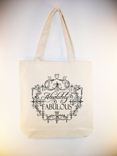 Vintage Frame Absolutely Fabulous Typography 15x15 Canvas Tote by Whimsybags on Etsy, $12.00