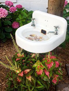 Create a Birdbath From a Salvaged Sink, HGTV