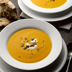 Pumpkin, saffron & orange soup with caramelised pumpkin seeds
