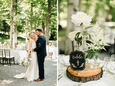 @mikaellabridal Real Bride Emily's Wedding Centerpiece. Simple and cute for an outdoor barn wedding