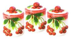 CHERRY 3-D Canister Set of 3 Canisters Cherries *NEW!* by KMC/KK-Cherry. $30.79. Perfect for ANY cherry collector!. Use to store cookies, crackers, noodles, flour, sugar, candy...whatever you want!. Great as a gift!. Create a personal and elegant touch to your kitchen!. Excellent attention to detail and such vibrant colors!. Each canister is decorated with cherry bunches on them! There are actual 3-D Cherries which serve as the lids and handles. Each canister measures approx. ...