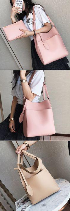 Bagail Women PU Leather Handbag High-End Tote Bag Bucket Bag