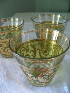 Set Of 3 Vintage Drinking Glasses With Green Glass by DoesMeadow, $10.00