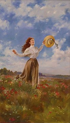 Ginsburg, Max Woman Running Through Field- cover- C Palmer's 'Prairie Rose' Aesthetic Painting, Aesthetic Art, Classic Paintings, Beautiful Paintings, Arte Inspo, Mode Poster, Photographie Portrait Inspiration, Japon Illustration, Victorian Art