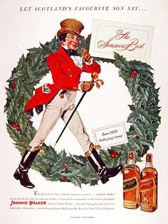 1951 Johnnie Walker Scotch Whiskey original vintage advertisement. A true scotch that only Scotland can produce. Born 1820 and still going strong.