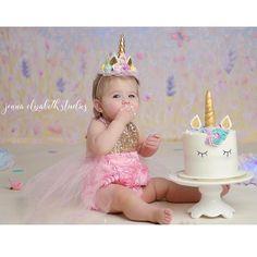 Dream big and always be a unicorn!  Unicorn cake smash inspo! ✨✨✨ Cake smash babe wears our Belle Fleur Sparkle Romper!   PC: @jennaelizabethstudios | Beautiful Cases For