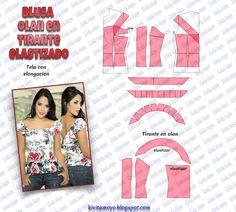 KiVita MoYo : BLUSA OLAN CON TIRANTE ELASTIZADO Blouse Patterns, Clothing Patterns, Blouse Designs, Easy Sewing Patterns, Vintage Patterns, Bodice Pattern, Crochet Mandala Pattern, How To Make Clothes, Pattern Drafting
