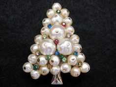 Vintage 50's Baroque Pearl Rhinestone Jeweled Christmas Tree Pin.