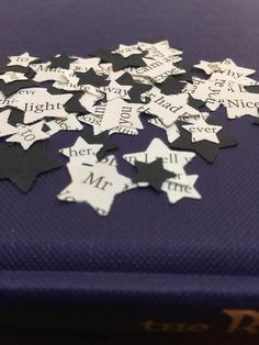 Book Page and BLACK Star Confetti Wedding decorations Paper