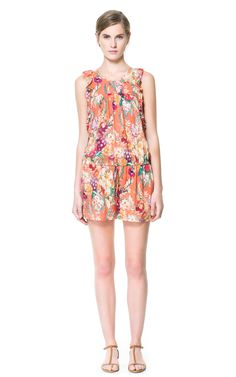 PRINTED JUMPSUIT WITH FRILLS Zara