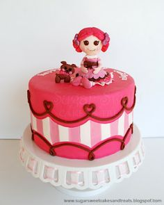 Lalaloopsy Cake - Toffee Cocoa Cuddles round tall) cake decorated in MMF. Lalaloopsy Figurine's head is a cake ball,. Pretty Cakes, Cute Cakes, Beautiful Cakes, Amazing Cakes, Cake Pop Favors, Tall Cakes, Character Cakes, Girly, Fancy Cakes