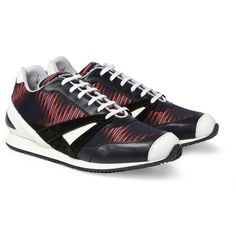 Balenciaga Printed Twill and Leather Sneakers | MR PORTER