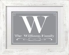 Family Monogram Art Print - Elegant Gray