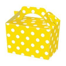 10 yellow polka dot  Childrens,Adult  Birthday Food Favour Loot Party Carry Box
