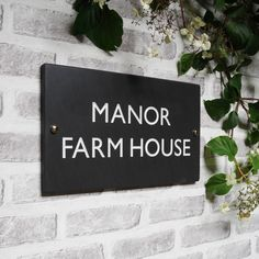 British Slate Classic House Sign Four Sizes Available by Marbletree, the perfect gift for Explore more unique gifts in our curated marketplace. House Name Plaques, House Name Signs, House Names, Home Signs, Personalized Signs For Home, Slate Signs, Manor Farm, Farmhouse Renovation, The Slate