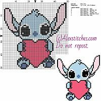 Little Stitch with heart free Disney cross stitch pattern 50x51 6 colors