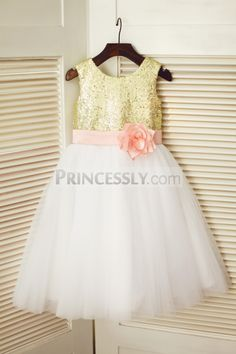 Gold Sequin Ivory Tulle Wedding Flower Girl Dress with Pink Flower Belt