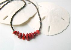 Red Coral Dainty Necklace Dainty Choker Necklace Seed Beads Coral Necklace Beaded Choker Seed Bead Necklace Coral Jewelry Seed Bead Jewelry by LovesShellsBeads on Etsy