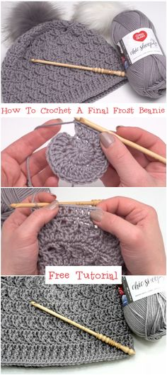 How To Crochet A Final Frost Beanie Tutorial Knitting PatternsKnitting For KidsCrochet Hair StylesCrochet Amigurumi Bonnet Crochet, Crochet Beanie Hat, Crochet Cap, Crochet Stitches, Free Crochet, Knitted Hats, Slouchy Hat, Easy Crochet, Beanie Pattern