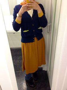 Dark Blue-Mustard Hijab in Spring
