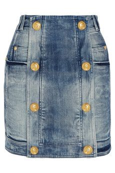 Balmain Distressed stretch-denim mini skirt | NET-A-PORTER $1,605 Italian-made piece is crafted from stretch-denim, washed for a distressed finish. Flatter your silhouette with a tucked-in tank or blouse.  Blue stretch-denim Zip fastening along back 98% cotton, 2% elastane; lining: 100% cotton Machine wash